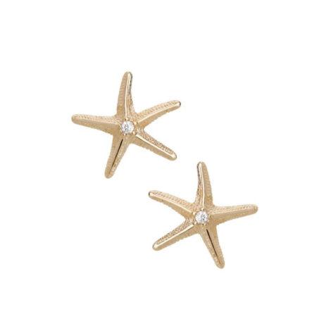 Imagem de fundo branco com um par de brincos, código 1689989. Brinco no formato de estrela do mar trabalhada com zircônia no centro. Brinco mede 1,1 cm de diâmetro.