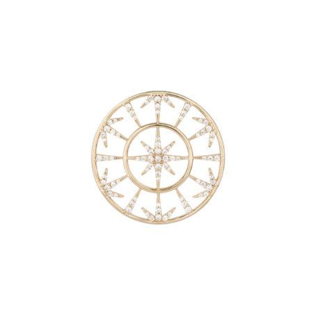 Imagem de fundo branco com um pingente no centro da marca Sabrina Joias, código 1800777. Pingente mandala dourada com dois aros lisos composto por estrela de 8 pontas no centro. Pingente com seis divisões fora do aro central, tendo metades de estrelas nas divisões. Pingente mede: 3,1 cm de comprimento x 3,1 cm de largura.