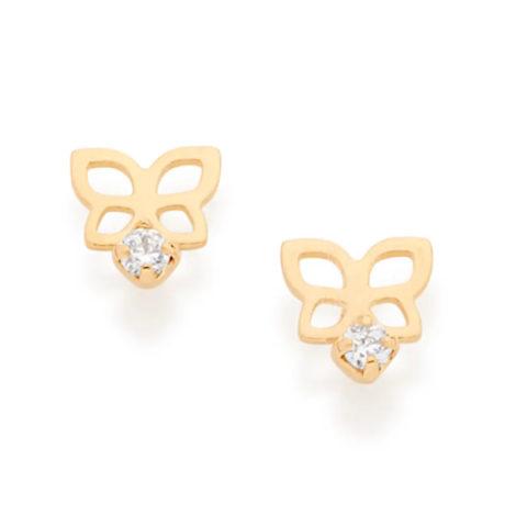 Imagem de fundo branco com par de brinco formato borboleta pequena com pedra de zircônia branca brilhante. Joia Rommanel, SKU 526050.