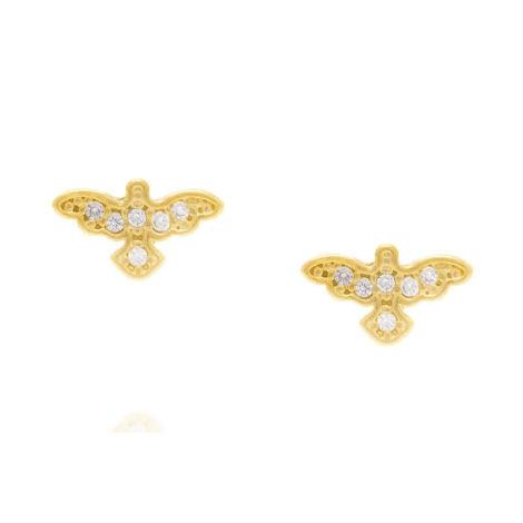 Imagem de fundo branco com par de brinco formato espírito santo com 6 micro zircônias brancas brilhantes no centro (cada um).Brinco Rommanel, banhado a ouro. SKU 524971.