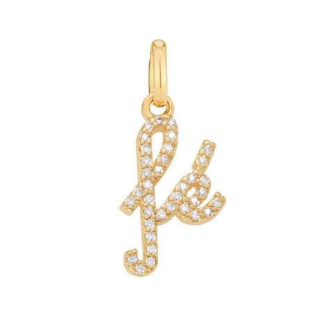 Imagem de fundo branco com pingente pequeno escrito Fé . Pingente banhado a ouro. Joia Rommanel, SKU 542296.