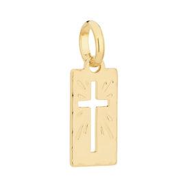 Imagem de fundo branco com um pingente no centro da marca Rommanel, código 540104. Pingente folheado a ouro, com cruz no centro e detalhes de raios ao redor.