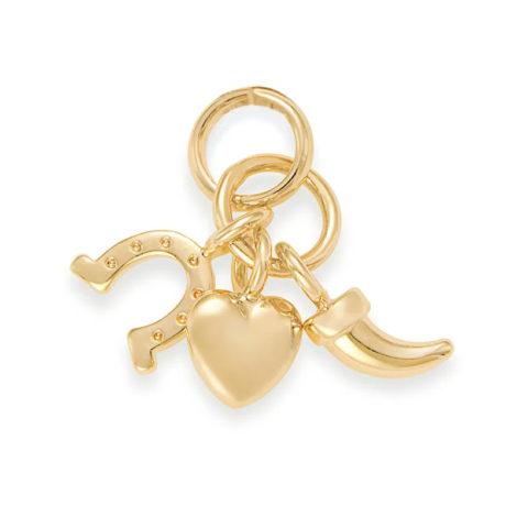 Imagem de fundo branco com pingente pequeno, composto por três berloques, sendo eles: coração, ferradura e dente. Pingente banhado a ouro. Joia Rommanel, SKU 542297.