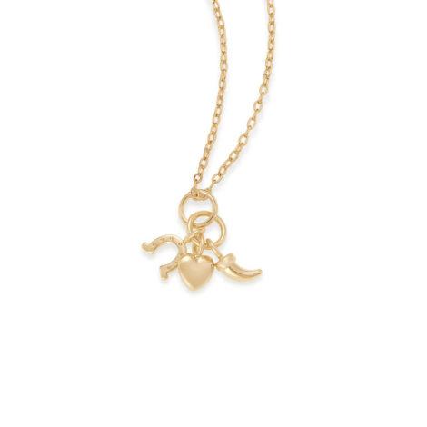 Imagem de fundo branco com uma corrente e pingente no centro da marca Rommanel, código do pingente: 542297. Imagem demonstrando o pingente. Pingente pequeno, composto por três berloques, sendo eles: coração, ferradura e dente. Pingente banhado a ouro. Joia Rommanel, SKU 542297.